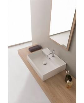 Vasque en céramique émaillée scateoreme 2.0 blanc et noir mat, à poser ou suspendu 60x46x14,5 cm 5117SX
