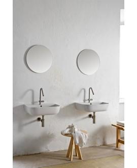 Vasque en céramique émaillée blanc et noir mat carrée à poser scaglam 22.5x22.5cm hauteur 11cm 1809