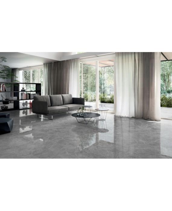 carrelage imitation marbre poli gris brillant rectifié 90x90x1cm, salon salle de bain, santagrigiosavoia