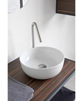 Vasque en céramique émaillée blanc mat, brillant et noir mat ronde à poser scaglam diamètre 33cm hauteur 14cm 1808