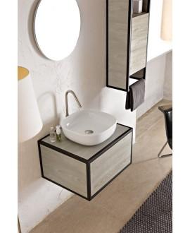 Vasque en céramique émaillée blanc brillant, blanc mat et noir mat carrée à poser scaglam 40x40cm hauteur 12.5cm 1806