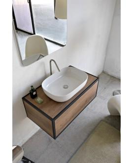 Vasque en céramique émaillée blanc brillant, blanc mat et noir mat rectangle à poser scaglam 56x39cm hauteur 14cm 1804