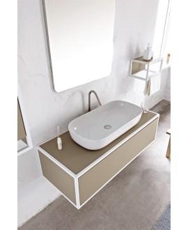 Vasque en céramique émaillée blanc brillant, blanc mat et noir mat rectangle à poser scaglam 76x39cm hauteur 14cm 1803