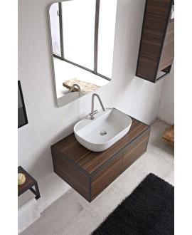 Vasque en céramique émaillée blanc brillant, blanc mat et noir mat rectangle à poser scaglam 56x38cm hauteur 14cm 1802