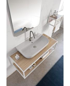 Vasque en céramique émaillée blanc brillant, mat et noir mat rectangle à poser ou suspendue scaglam 75x42cm hauteur 14cm 1812
