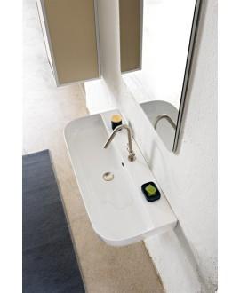 Vasque en céramique émaillée blanc brillant, mat et noir mat rectangulaire avec deux trous scaglam 95x42cm hauteur 14cm 1813B