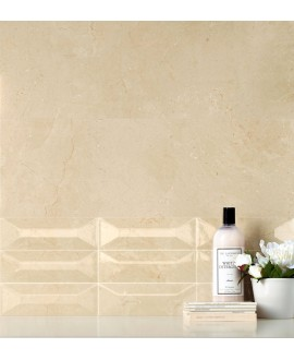 Carrelage imitation marbre poli rectifié 90x90x1cm, santacremarfil