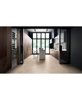 Carrelage imitation marbre beige satiné rectifié 90x90x1cm, cuisine, santacremarfil