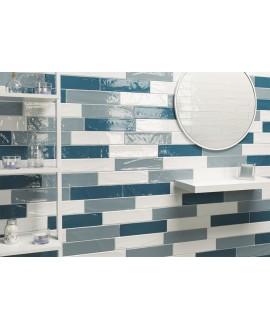 Carrelage imitation Zellige bleu clair brillant bosselé 7.5x30cm et 7.5x15cm natemanhattan 7AV
