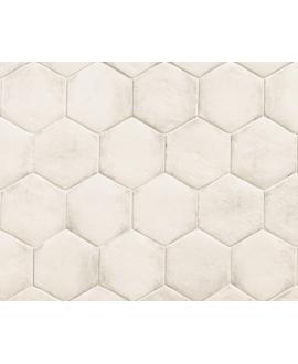 Carrelage blanc brillant sol et mur hexagone 18x20.5cm, barette 7x45cm, carré 11x11cm nattempo rice