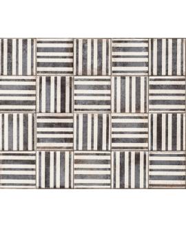 Carrelage blanc et noir brillant sol et mur décoré carré 11x11cm nattempo line caviar