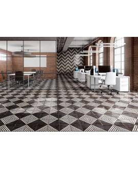 Carrelage noir et blanc brillant sol et mur décoré carré 22.5x22.5cm nattempo road caviar