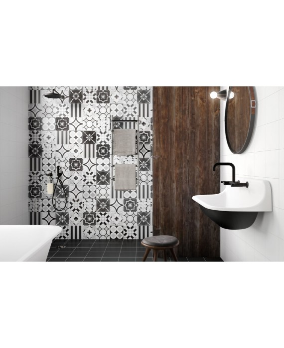Carrelage patchwork mix2 black and white imitation carreau ciment 20x20 cm rectifié au mur, R10
