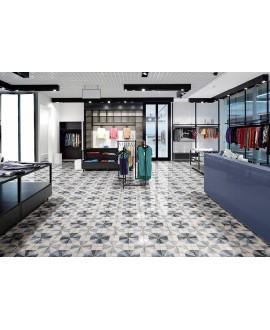 Carrelage bleu et blanc brillant sol et mur décoré carré 22.5x22.5cm nattempo tangram atlantic