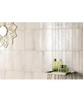 Carrelage sol et mur brillant noir, blanc, bleu , gris et ocre rectangulaire 22.5x45cm nattempo