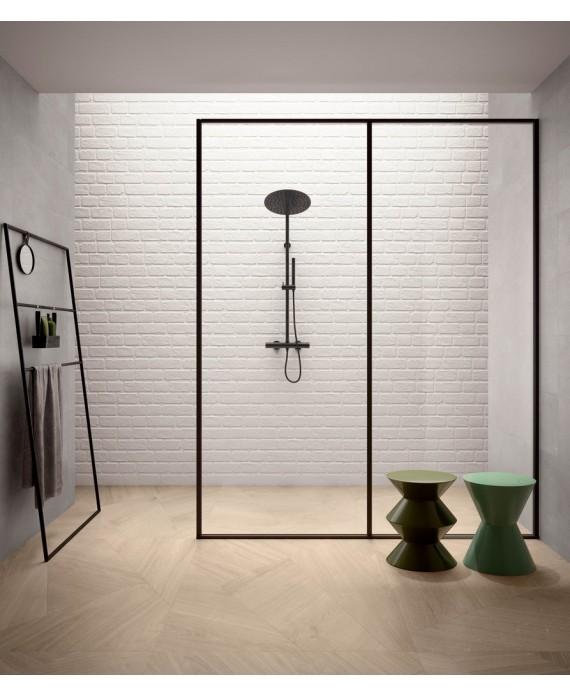 carrelage parement mural santasetwall white 15x90 cm dans la salle de bains