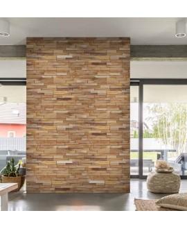 Parement en bois naturel avec des morceaux de 4cm de large MO manaus1 20x49.5x2cm