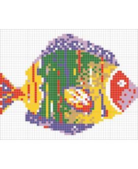 Décor en emaux de verre pour piscine: petit poisson multicouleur 158x126.4cm
