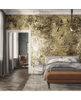 Papier peint en fibre de verre pour mur de salle de bain APRIL_INKLVIC2001, fleurs sur fond jaune
