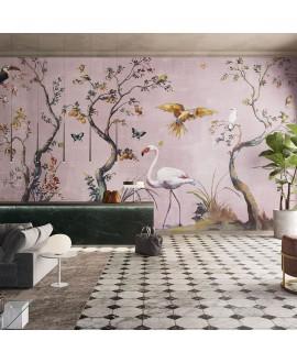 Papier peint en fibre de verre pour mur de salle de bain IBIS_INKUAHB1903a, flamand sur fond rose