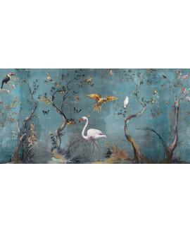Papier peint en fibre de verre pour mur de salle de bain IBIS_INKUAHB1902a, flamand sur fond bleu