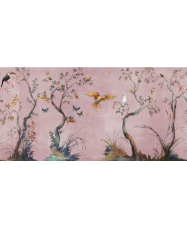 Papier peint en fibre de verre pour mur de salle de bain IBIS_INKUAHB1903b, oiseaux sur fond rose