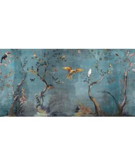 Papier peint en fibre de verre pour mur de salle de bain IBIS_INKUAHB1902b, oiseaux sur fond bleu
