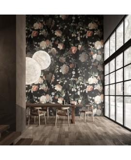 Papier peint en fibre de verre pour mur de salle de bain JACQUELINE_INKWFCT2001, fleurs sur fond noir
