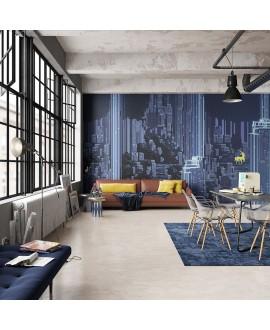 Papier peint en fibre de verre pour mur de salle de bain DIGITAL-WOODLAND_INKADOL2001, ville bleue