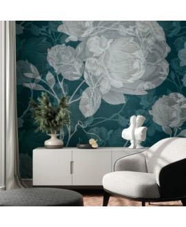 Papier peint en fibre de verre pour mur de salle de bain ELIZABETH_INKYHAN2001 fleurs blanches