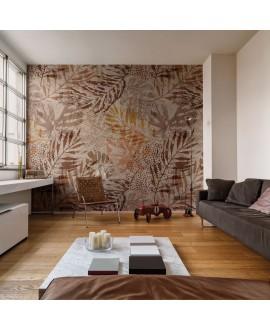 Papier peint en fibre de verre pour mur de salle de bain INKWVCE1901 feuille brune sur fond beige