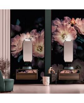 Papier peint en fibre de verre pour mur de salle de bain INKGLXY1901-1 fleurs roses