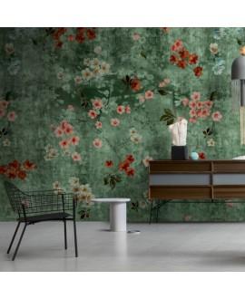 Papier peint en fibre de verre pour mur de salle de bain INKTMPQ1902-1 fleurs sur fond vert
