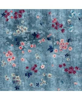 Papier peint en fibre de verre pour mur de salle de bain INKTMPQ1901-1 fleurs sur fond bleu