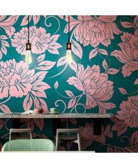 Papier peint en fibre de verre pour mur de salle de bain CHRYSAN_INKDNXU1503_AMB fleur rose sur fond vert