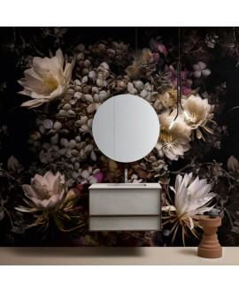 Papier peint en fibre de verre pour mur de salle de bain INKCSNF1901-1 grosse fleur sur fond noir