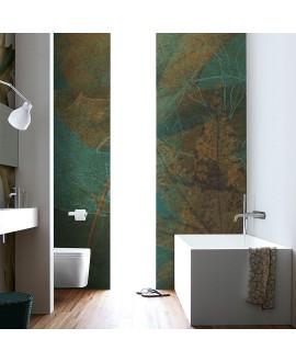 Papier peint en fibre de verre pour mur de salle de bain FALLING_INKFLMW1901feuile sur fond vert