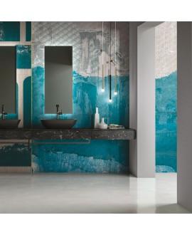Papier peint en fibre de verre pour mur de salle de bain FITFUL_EQ_INKHYQD1901 bleu contemporain