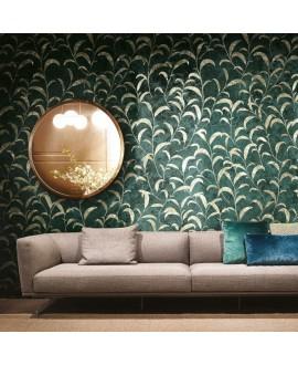 Papier peint en fibre de verre pour mur de salle de bain goldenwall_follie_minim_inkiolr18 feuille dorée sur fond vert
