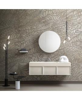 Papier peint en fibre de verre pour mur de salle de bain INKYDSB1901A-1 fossil de feuille
