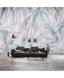 Papier peint en fibre de verre pour mur de salle de bain FROSTY_INKAKDW1901 feuille gris et bleu