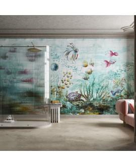 Papier peint en fibre de verre pour mur de salle de bain HAOMA_INKAENQ19 aquarium