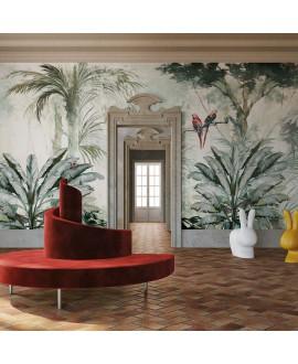 Papier peint en fibre de verre pour mur de salle de bain MONTSALVAT_INKOVOT19 jungle au perroquet