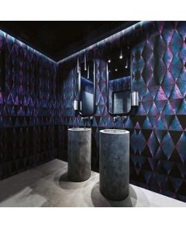 Papier peint en fibre de verre pour mur de salle de bain PYTHON_INKGDEM14C04 contemporain triangle bleu