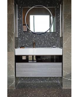 Emaux de verre hexagonnal imitation marbre noir mat sur plaque de 30.1x29cm sol et mur onimarquina nero