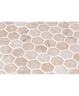 Emaux de verre hexagonnal imitation marbre beige mat sur plaque de 30.1x29cm sol et mur onimarfil