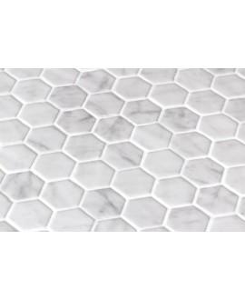 Emaux de verre hexagonnal imitation marbre blanc mat sur plaque de 30.1x29cm sol et mur onicarrara