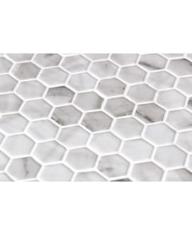 Emaux de verre hexagonnal imitation marbre blanc mat sur plaque de 30.1x29cm sol et mur onicalacatta