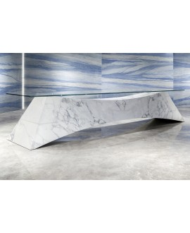 Carrelage imitation marbre bleu brillant, faible épaisseur 6mm, 75x75cm et 75x150cm sol et mur ariosmacaubas azul