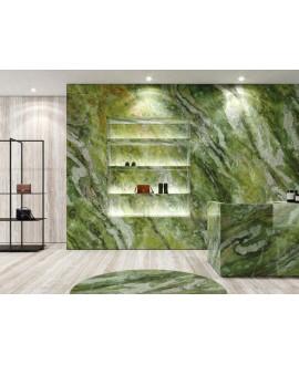 Carrelage imitation marbre vert poli brillant, faible épaisseur 6mm, 75x75cm et 75x150cm sol et mur ariosbrillant green